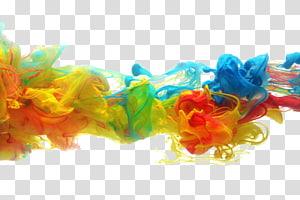 Tinta de papel Pintura em aquarela Pigmento, Derreta na tinta da cor da água, ilustração de fumaça vermelha, amarela e azul PNG clipart