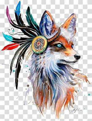 Fox Drawing Art Pintura, raposa, raposa laranja e branca ilustração png