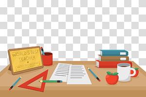 material escolar, dia do professor, mesa do professor PNG clipart