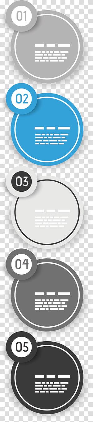 cinco fluxograma variado, ícone de círculo da caixa de texto, caixa de ppt redonda png