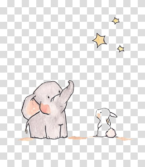 elefante e coelho, estrela elefante ilustração coelho, elefantes e coelhos estrelas png