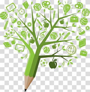 Educação do aluno Aprendizagem Ensino médio Sustentabilidade, Árvore de lápis criativa do conhecimento de ciência e tecnologia, arte com lápis verde PNG clipart