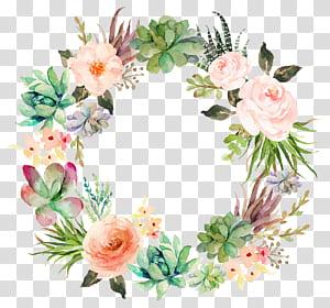 Convite de casamento Papel Aquarela pintura Grinalda Planta suculenta, grinalda floral delicada, ilustração de grinalda floral multicolorida png