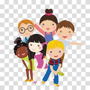 seis crianças, ilustração, criança, caricatura, ilustração, grupo crianças PNG clipart