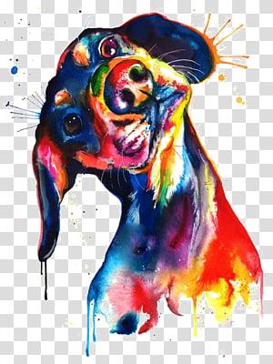 Pintura em aquarela Dachshund Impressão em tela, Filhote de cachorro em aquarela, obra de arte em cães multicolorida png