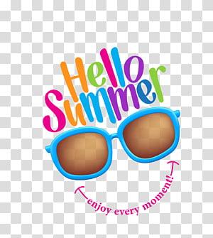 Olá ilustração de verão, ilustração de verão, óculos de cor decorados horário de verão png
