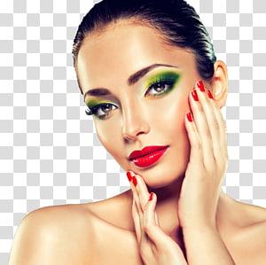Modelo de cosméticos beleza esmalte, modelo de maquiagem, mulher tocando seu rosto PNG clipart