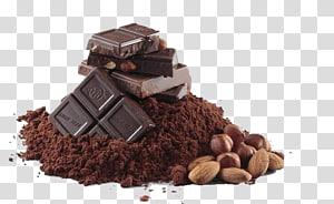 de chocolate, nozes e pó, Barra de chocolate Bolo de chocolate Sólidos de cacau Grãos de cacau, Chocolate em pó e chocolate PNG clipart