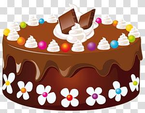 Bolo de chocolate com coberturas, Bolo de aniversário Bolo de chocolate Glacê, Bolo de chocolate png