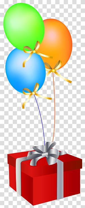 balões e caixa de presente, balão presente de aniversário cartão, caixa de presente vermelha com balões PNG clipart