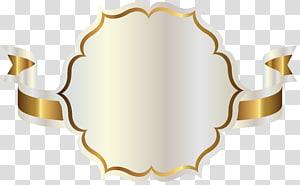 Fita, etiqueta branca com fita de ouro, ilustração de fita branca e dourada png
