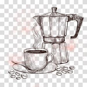 ilustração de pote de moka, café instantâneo chá gelado café, bule de café png