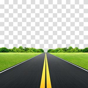 estrada entre campo de grama, Lawn Road, Prado, estrada png