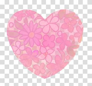 flores cor de rosa, padrão de flor pintados à mão coração da aguarela trans, outros png