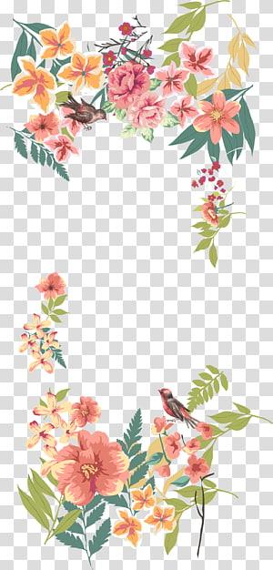 Design floral euclidiano de flores, bordas de flores pintadas à mão, ilustração de rosas cor de rosa e brancas png