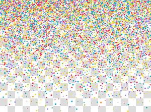 Ilustração euclidiana de confetes, confetes pintados à mão, partículas de ponto amarelo, vermelho e verde PNG clipart