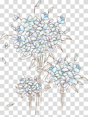 Arquivo de computador, pintados à mão decorações de porta de flor de casamento, ilustração de flores azuis png