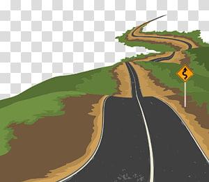 ilustração de estrada marrom, cinza e verde, ilustração euclidiana de estrada, material de estrada urbana png