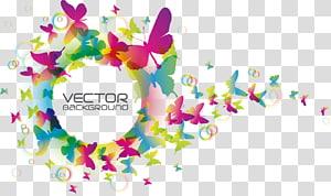Arte multicolorida da parede do fundo, ilustração colorida de borboleta, borboleta colorida criativa, PNG clipart