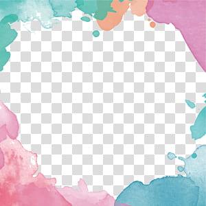 Flor euclidiana de desenho, borda em aquarela pintada à mão, multicolorida PNG clipart