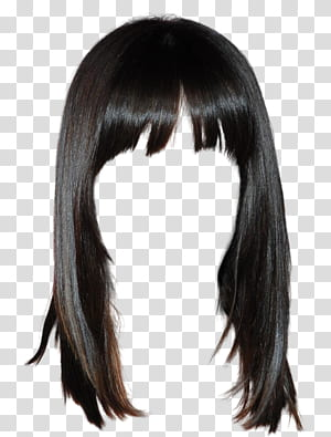 Peruca de cabelo Penteado Cabelo comprido, estilo ocidental peruca de cabelo preto Livre para puxar o material, peruca preta PNG clipart