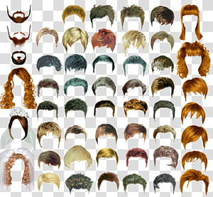 ilustração de perucas de cores sortidas e estilo, penteado cabelos longos masculinos, modelos de design de cabelo de cabelo PNG clipart