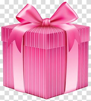 caixa de presente rosa e branca com fita, caixa de presente de Natal, caixa de presente listrada rosa png