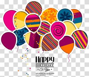 Convite de casamento Bolo de aniversário Cartão, balões de aniversário fundo de desenhos animados, ilustração de balões de aniversário PNG clipart