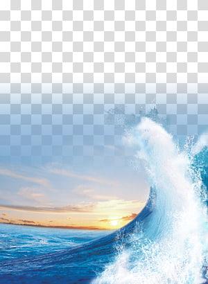 Luz do sol do mar Onda de vento, azul do mar, das ondas do oceano png