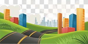 estrada no meio da ilustração de arranha-céus, estrada rodovia, estrada png