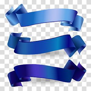 Fita de conscientização Fita azul Web banner, fita azul, três fitas de laço azul png
