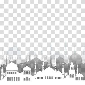 Ilustração da mesquita do Ramadã do Islã, arquitetura da mesquita islâmica, ilustração da mesquita branca png