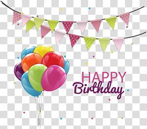 Bolo de aniversário, festa de balão, balões de aniversário puxe bandeira, ilustração de feliz aniversário png
