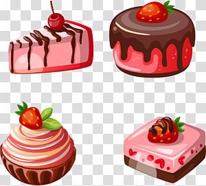 ilustração de quatro sobremesas variadas, bolo de morango Waffle Petit four, bolo de morango pintado à mão png