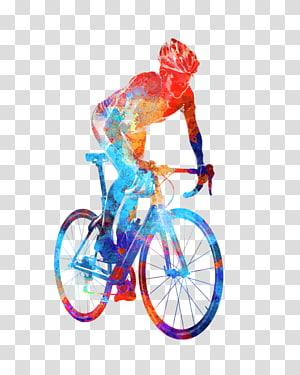 cartaz do triathlon da pintura da aguarela da bicicleta do ciclismo, ciclagem png