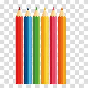 ilustração de seis lápis de cores sortidas, lápis de cor, lápis de cor PNG clipart