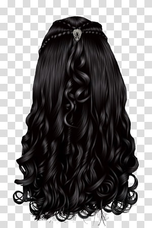 cabelo preto encaracolado, integrações de cabelos artificiais leves Wig Hairstyle, cabelo de mulher PNG clipart