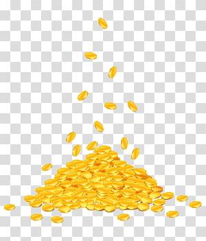 ilustração de lote de moeda de cor dourada, ilustração de moeda de ouro, dinheiro caindo png