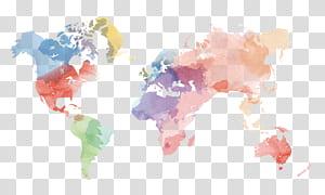 Mapa do mundo Estados Unidos globo, material de mapa mundo aquarela criativa, ilustração de mapa mundo multicolorido PNG clipart