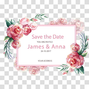 Convite de casamento Presente de cartão postal de papel, borda romântica pintada à mão, James e Anna advertisement png