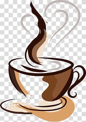 ilustração de café, xícara de café desenho de café, xícara de café marrom pintado à mão png
