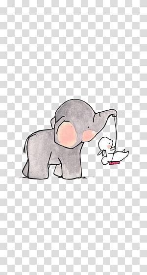 estampas de animais, elefante carregando ilustração de coelho branco PNG clipart