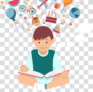 ilustração de livros leitura menino, estudante leitura euclidiana, estudante de leitura PNG clipart