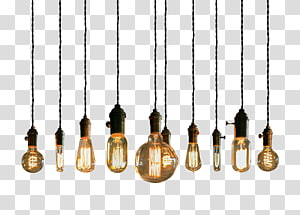 lote de luz pendente iluminado, iluminação lâmpada incandescente luminária pendente luminária, luzes da corda PNG clipart