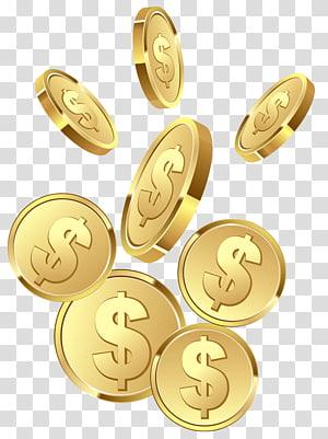 ilustração de moedas do dólar, moeda, moedas png