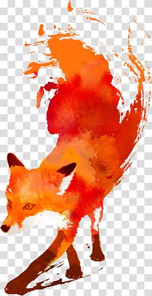 Arte raposa vermelha, raposa vermelha Arte Pintura em aquarela raposa png