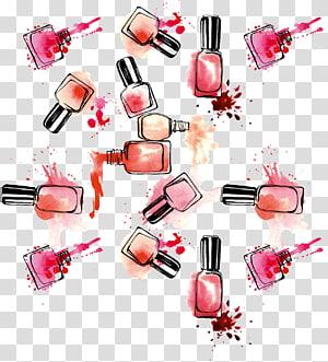 ilustração de frascos de esmaltes de cores sortidas, esmaltes cosméticos batom, esmaltes coloridos à mão PNG clipart