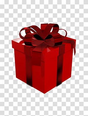 Papel de embrulho de presente, caixa de presente vermelha grande, caixa de presente vermelha png