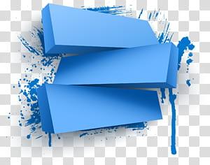 Web banner gráficos de computador 3D, pintados à mão caixa azul, blocos azuis png