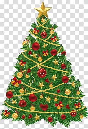 Árvore de Natal Papai Noel Decoração de Natal Enfeite de Natal, Árvore de Natal Grande com Enfeites de Vermelho e Dourado, Árvore de Natal PNG clipart